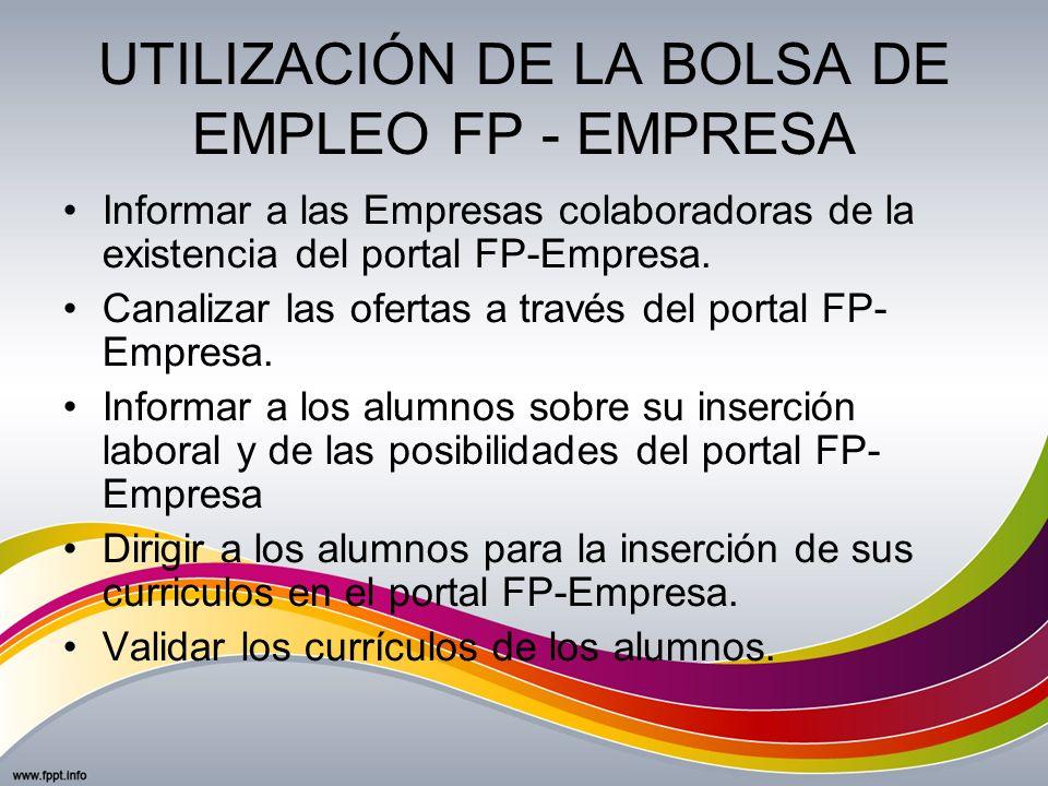 UTILIZACIÓN DE LA BOLSA DE EMPLEO FP - EMPRESA