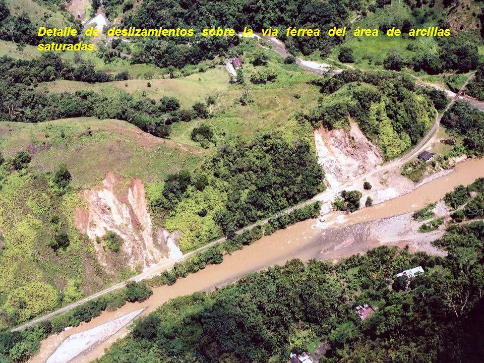 Detalle de deslizamientos sobre la vía férrea del área de arcillas saturadas.