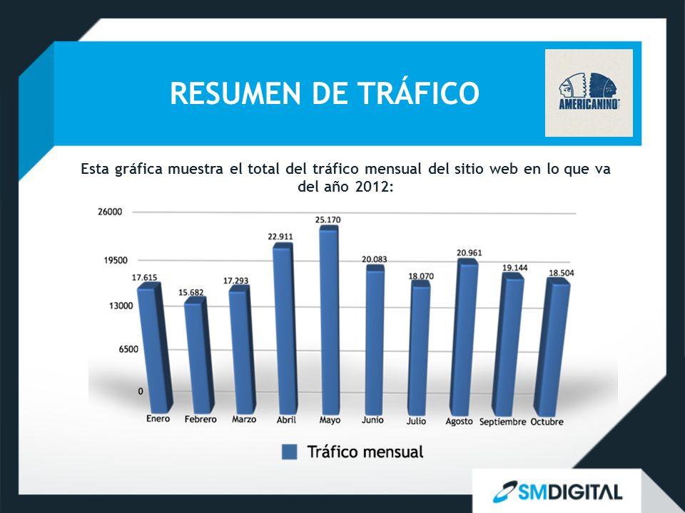 RESUMEN DE TRÁFICO Esta gráfica muestra el total del tráfico mensual del sitio web en lo que va del año 2012: