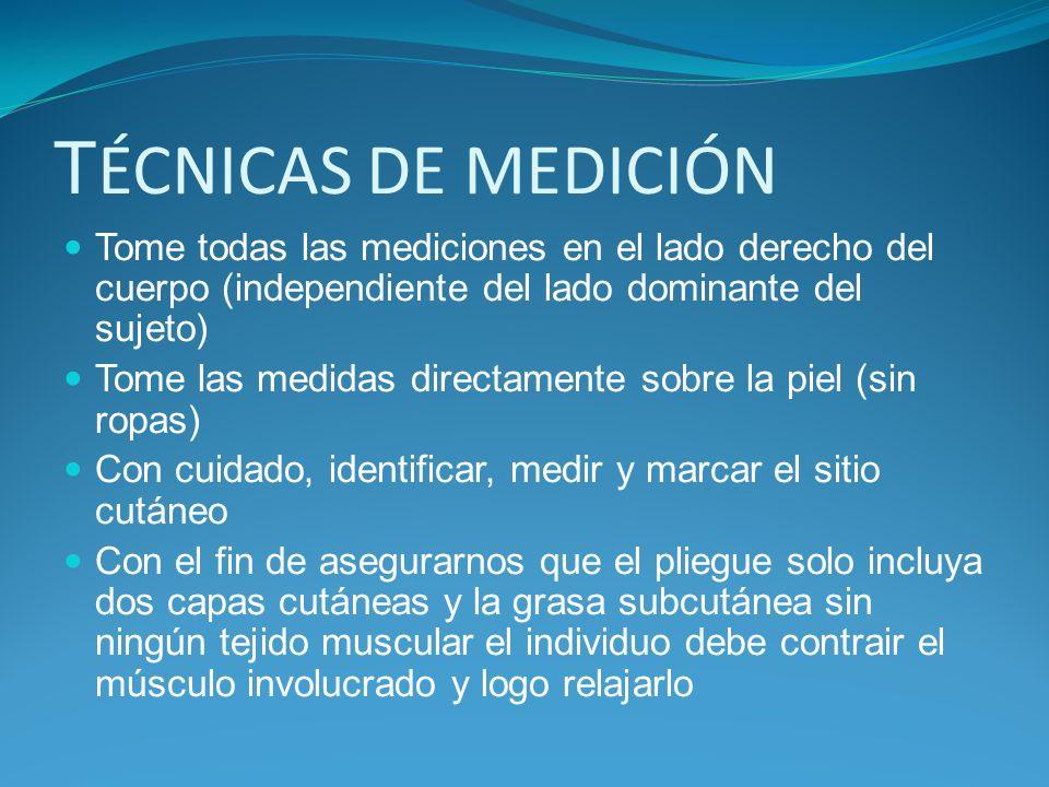 MARCELLABIROLINI TÉCNICAS DE MEDICIÓN. Tome todas las mediciones en el lado derecho del cuerpo (independiente del lado dominante del sujeto)