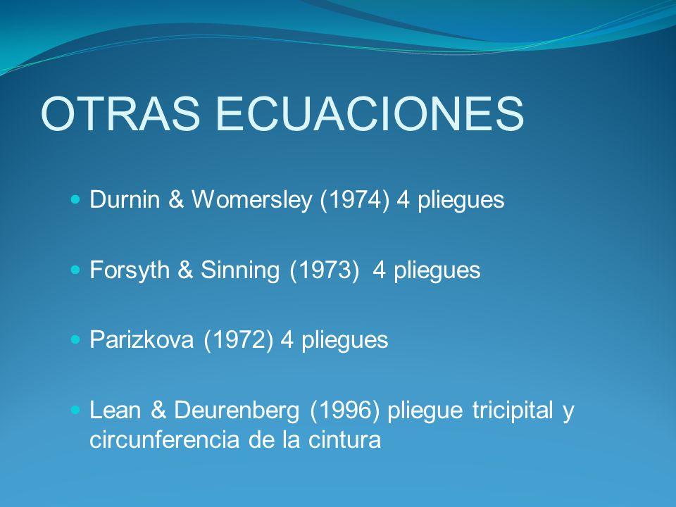 OTRAS ECUACIONES Durnin & Womersley (1974) 4 pliegues