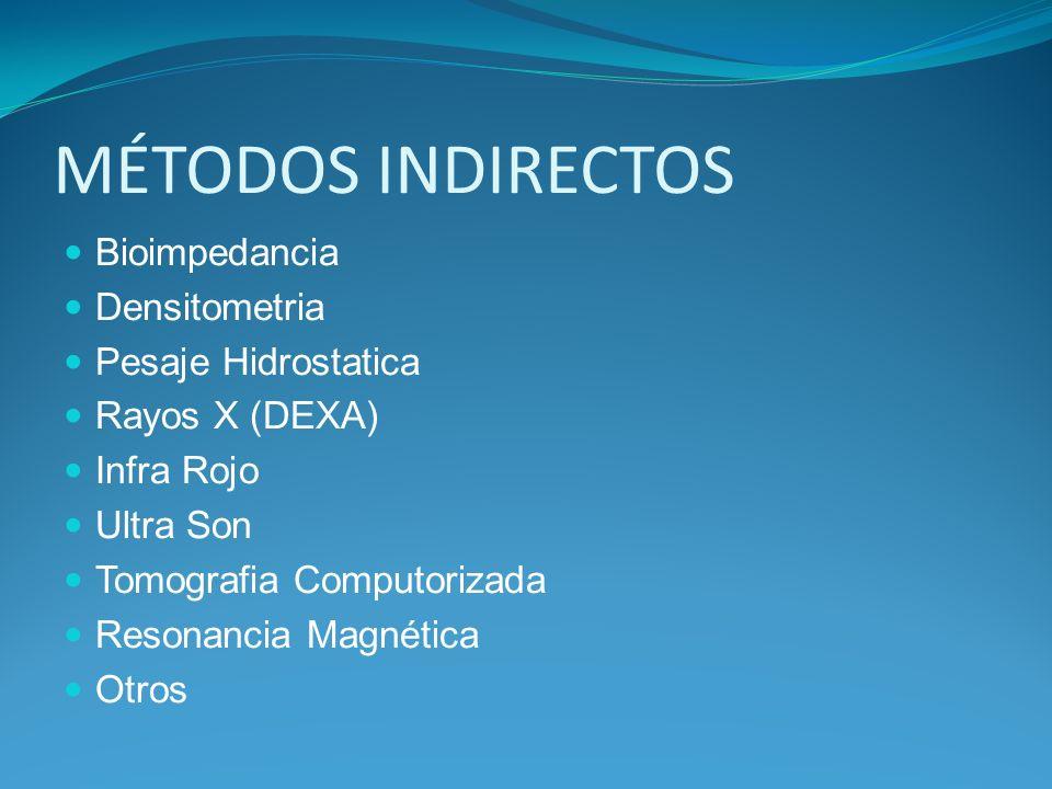 MÉTODOS INDIRECTOS Bioimpedancia Densitometria Pesaje Hidrostatica