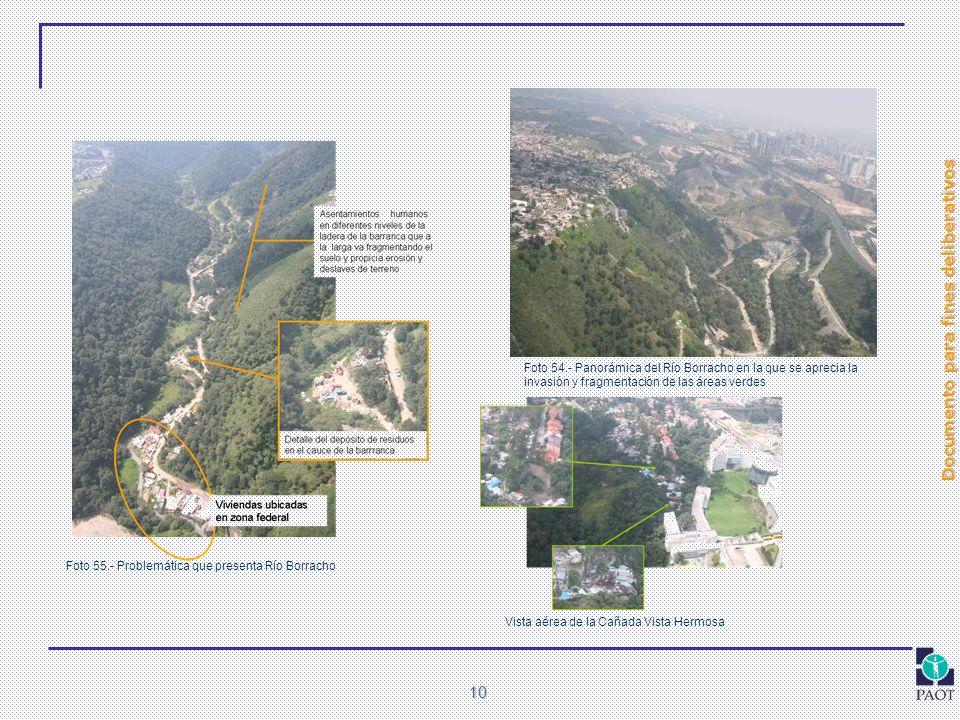 Foto 54.- Panorámica del Río Borracho en la que se aprecia la invasión y fragmentación de las áreas verdes