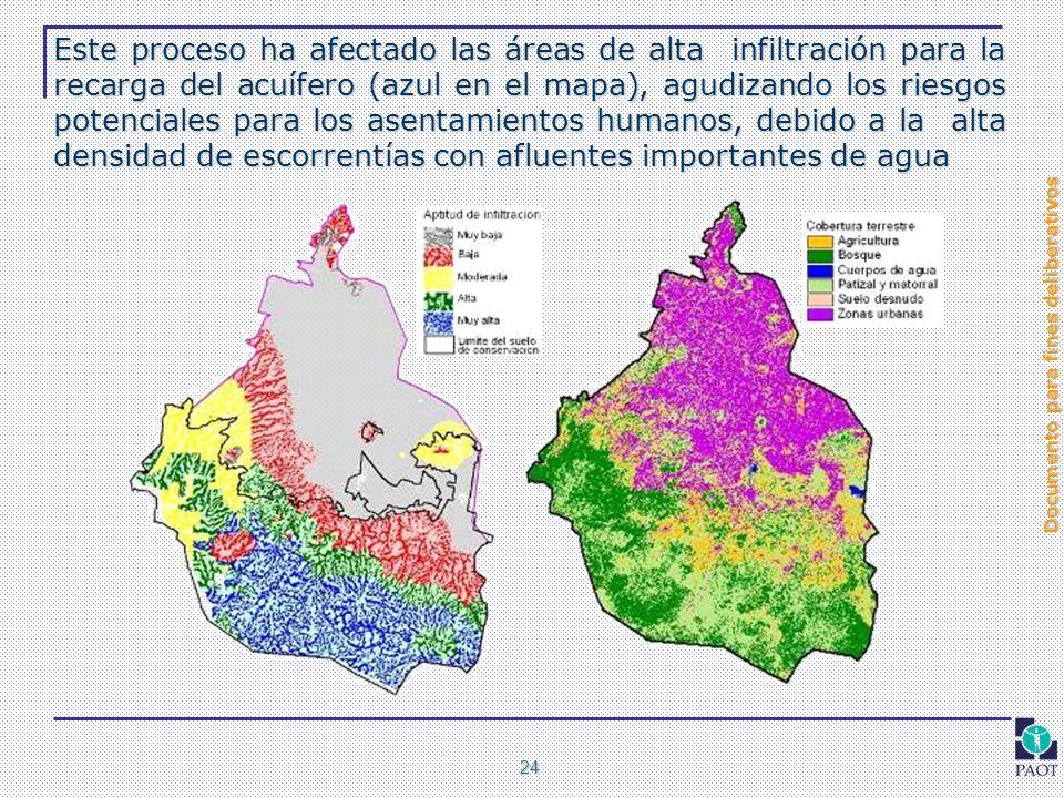 Este proceso ha afectado las áreas de alta infiltración para la recarga del acuífero (azul en el mapa), agudizando los riesgos potenciales para los asentamientos humanos, debido a la alta densidad de escorrentías con afluentes importantes de agua