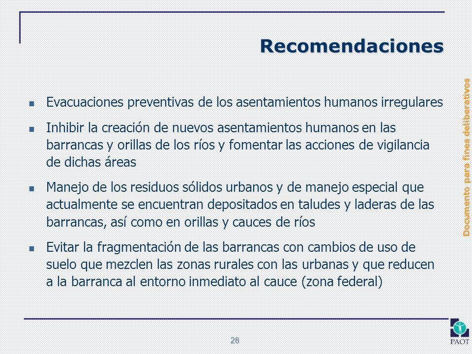 Recomendaciones Evacuaciones preventivas de los asentamientos humanos irregulares.