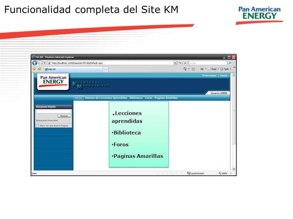 Funcionalidad completa del Site KM