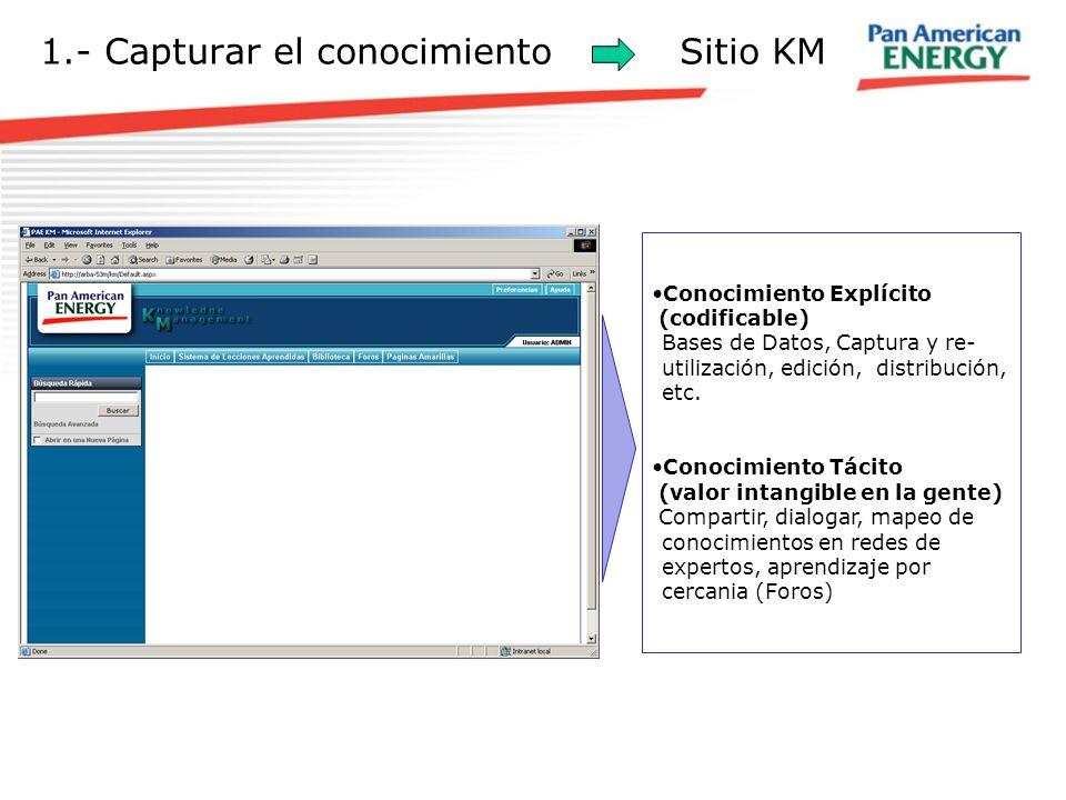 1.- Capturar el conocimiento Sitio KM