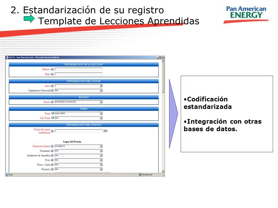 2. Estandarización de su registro Template de Lecciones Aprendidas