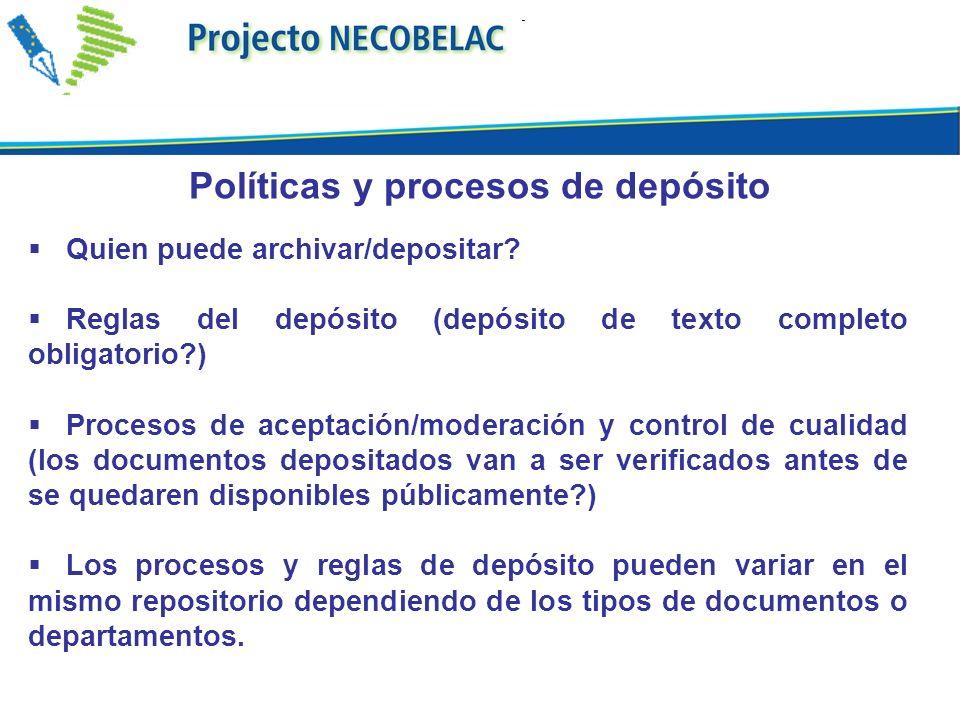 Políticas y procesos de depósito