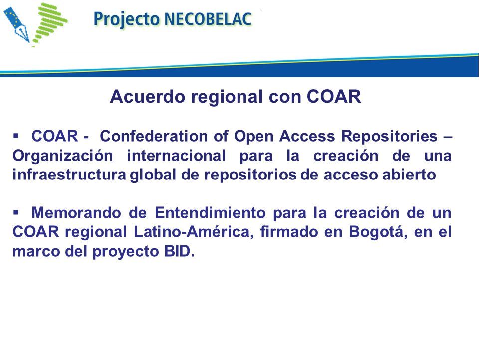 Acuerdo regional con COAR