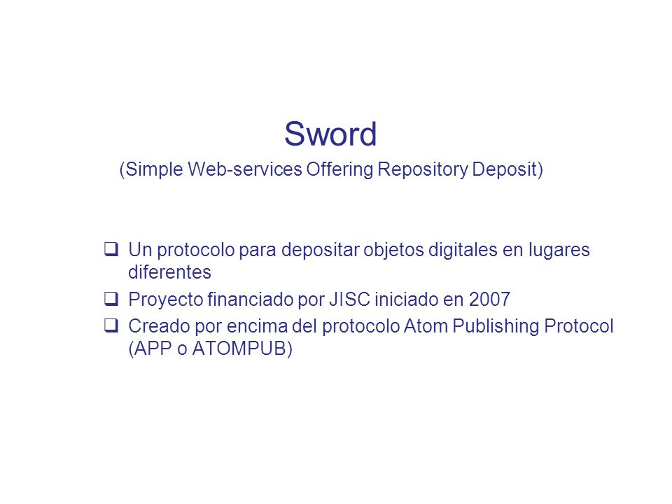 (Simple Web-services Offering Repository Deposit)