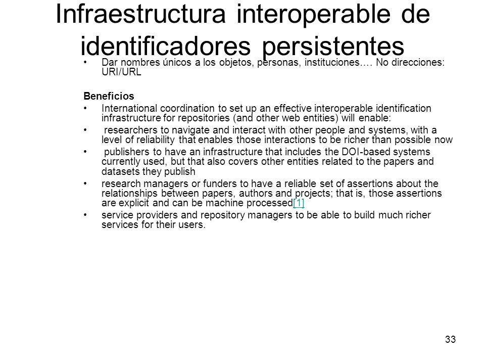 Infraestructura interoperable de identificadores persistentes