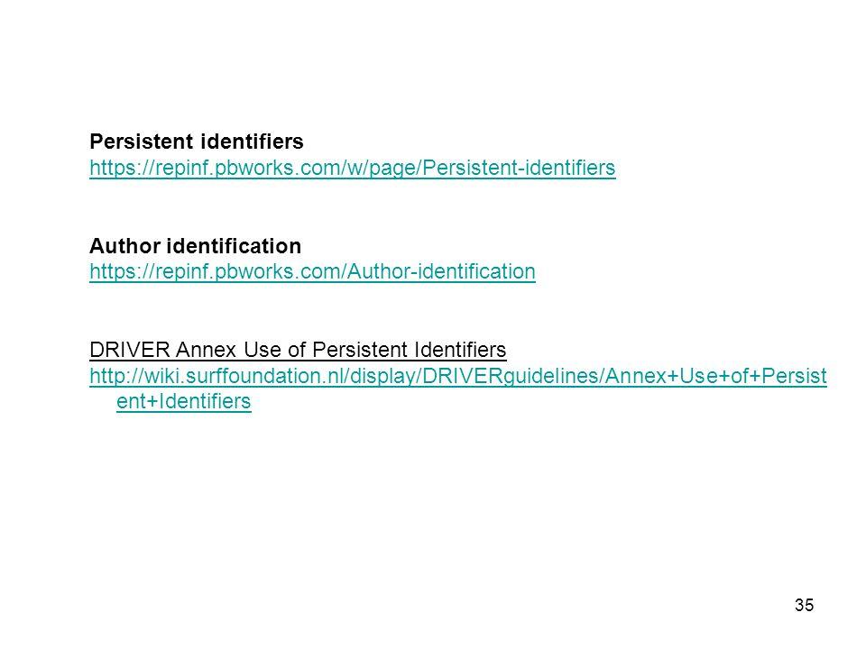 Persistent identifiers