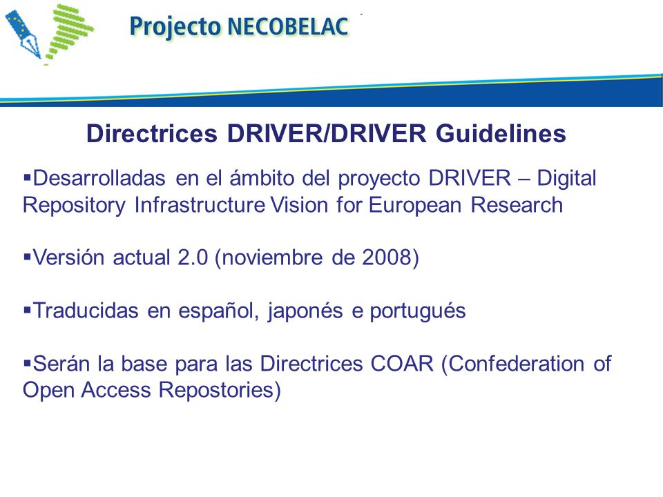 Directrices DRIVER/DRIVER Guidelines