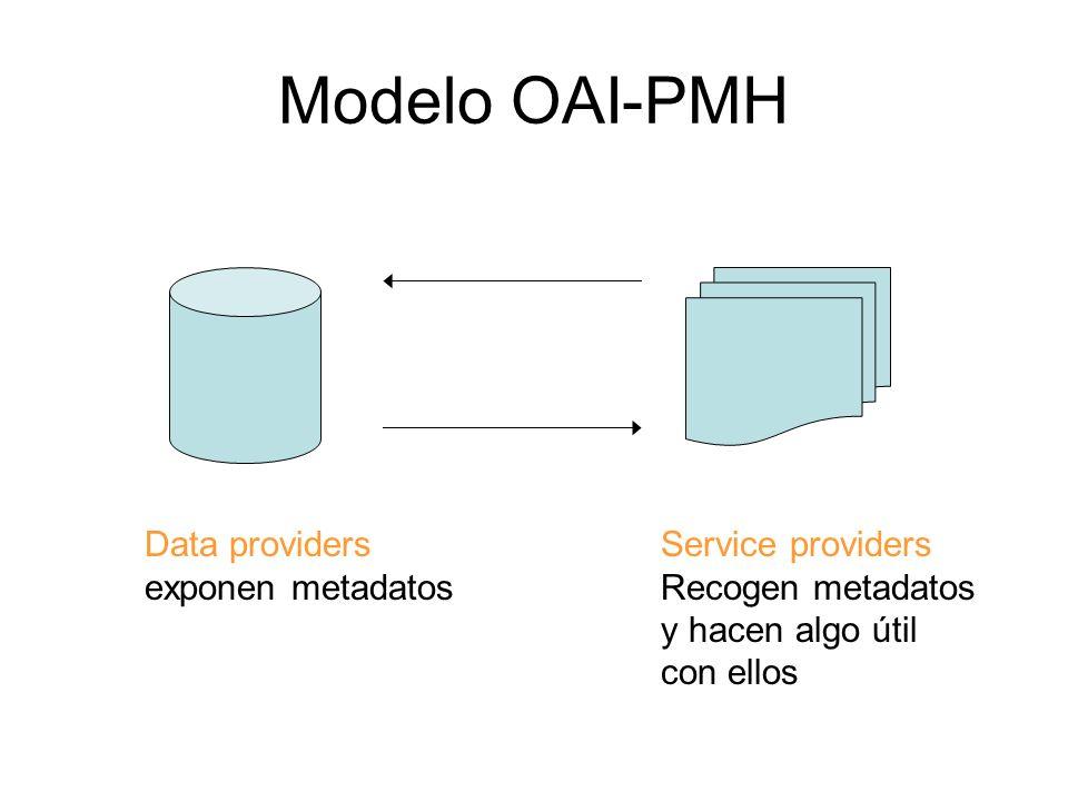 Modelo OAI-PMH Data providers exponen metadatos Service providers