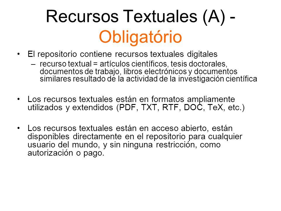 Recursos Textuales (A) - Obligatório