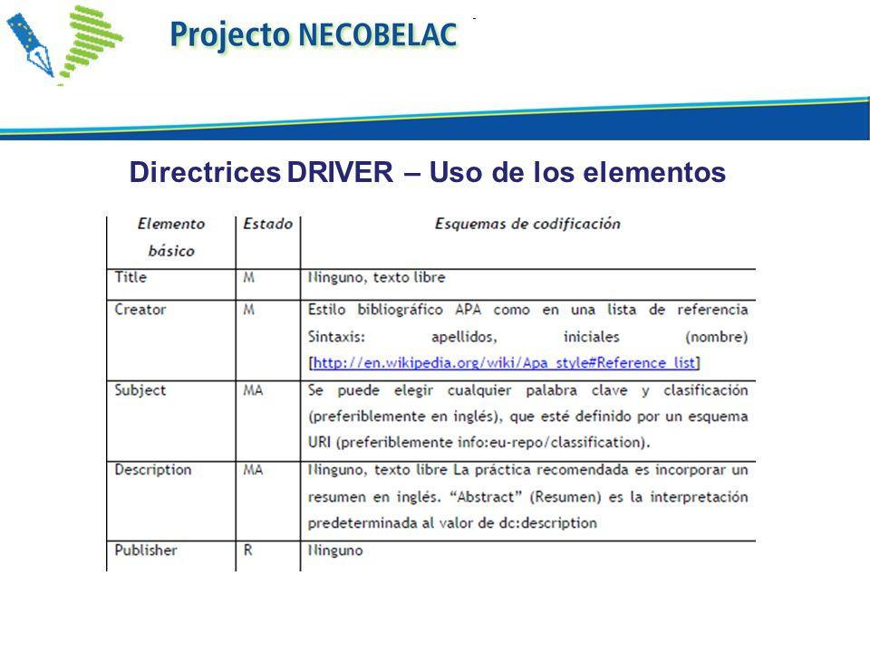 Directrices DRIVER – Uso de los elementos