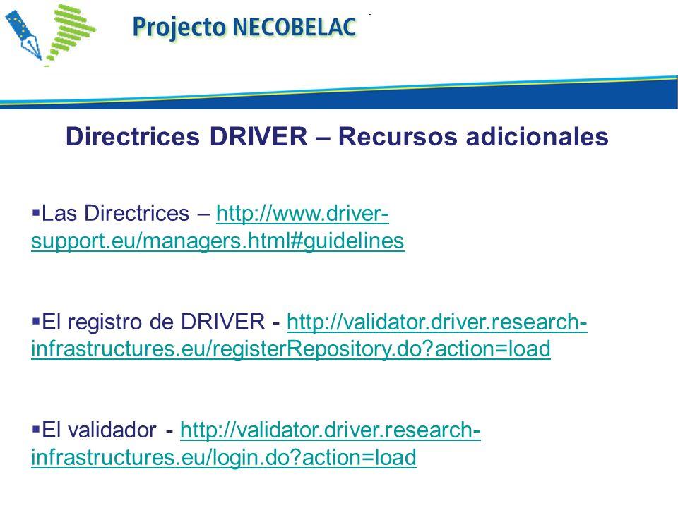 Directrices DRIVER – Recursos adicionales