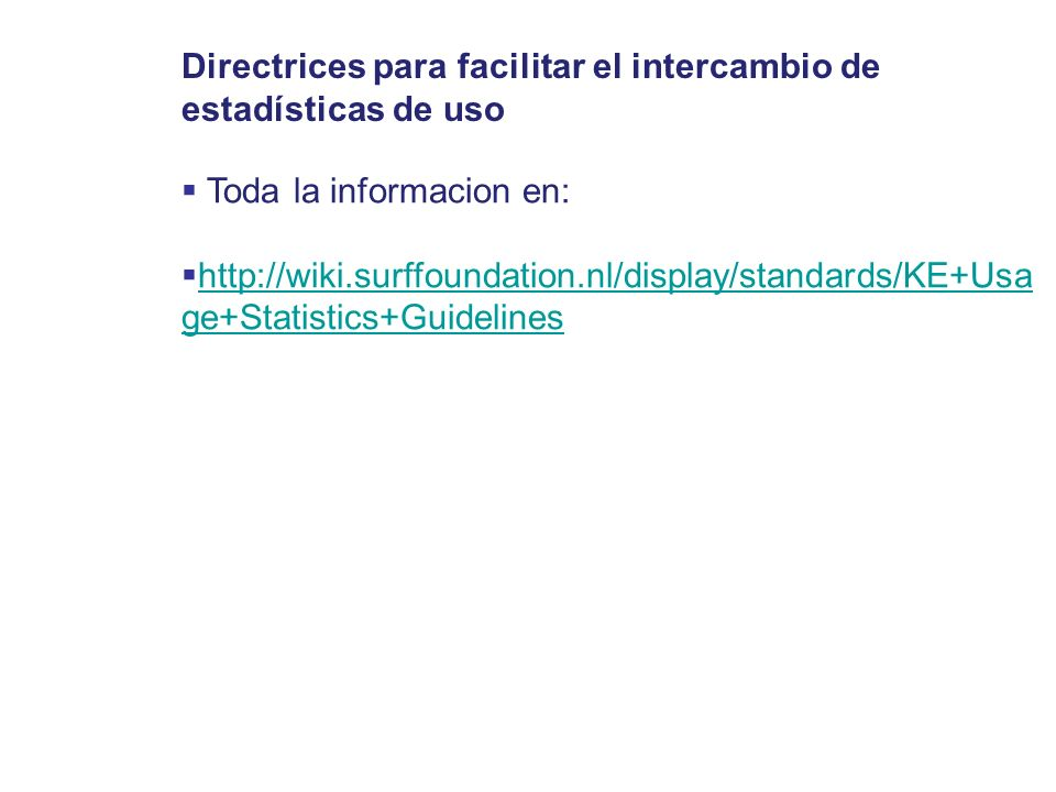 Directrices para facilitar el intercambio de estadísticas de uso
