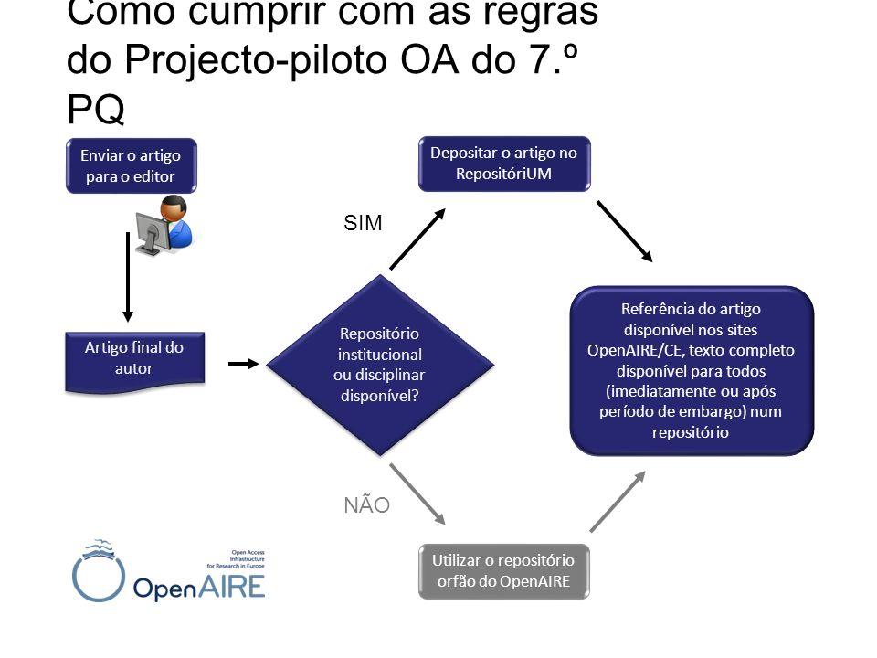 Como cumprir com as regras do Projecto-piloto OA do 7.º PQ
