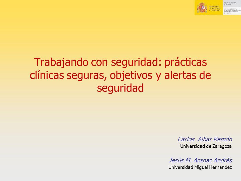 Trabajando con seguridad: prácticas clínicas seguras, objetivos y alertas de seguridad