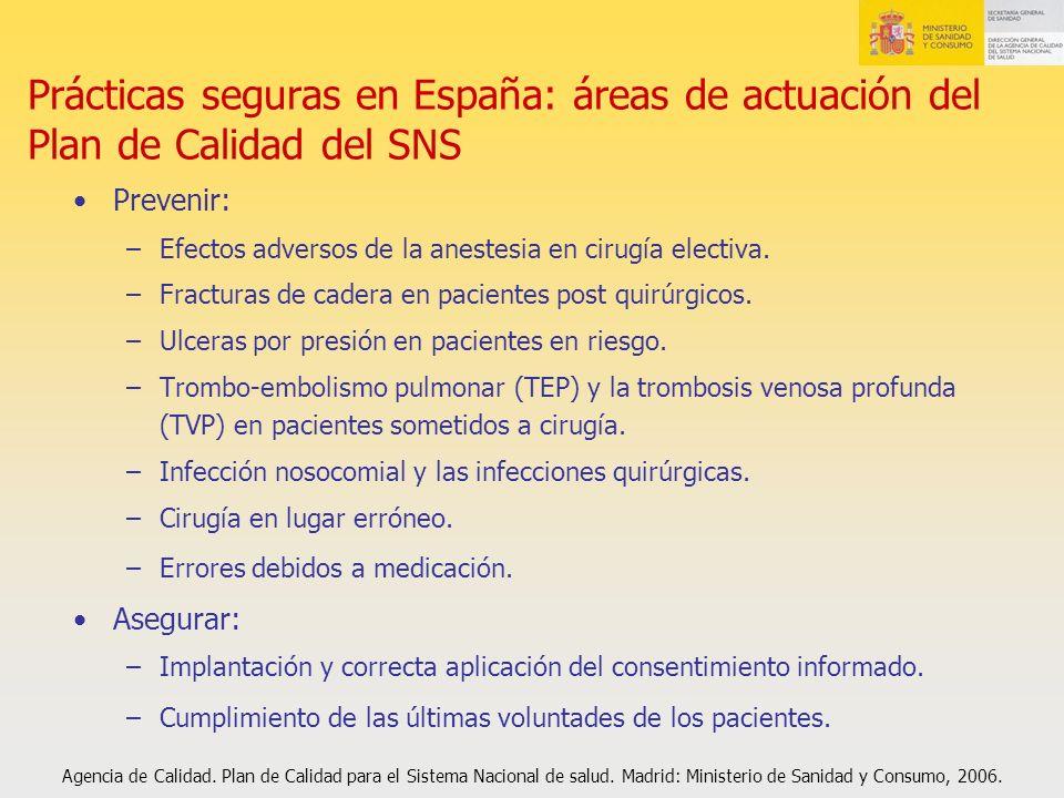 Prácticas seguras en España: áreas de actuación del Plan de Calidad del SNS