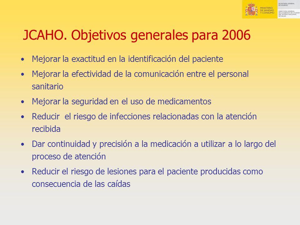 JCAHO. Objetivos generales para 2006