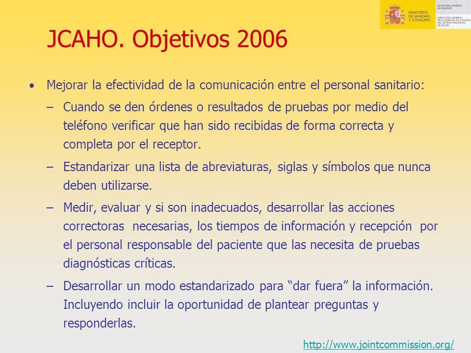 JCAHO. Objetivos 2006 Mejorar la efectividad de la comunicación entre el personal sanitario: