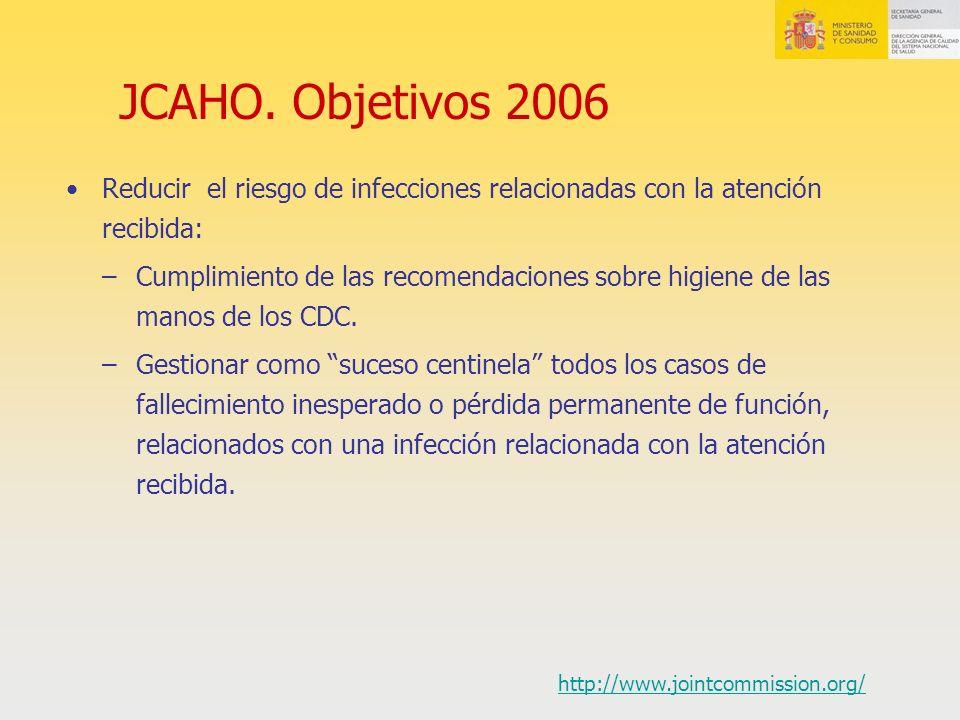 JCAHO. Objetivos 2006 Reducir el riesgo de infecciones relacionadas con la atención recibida: