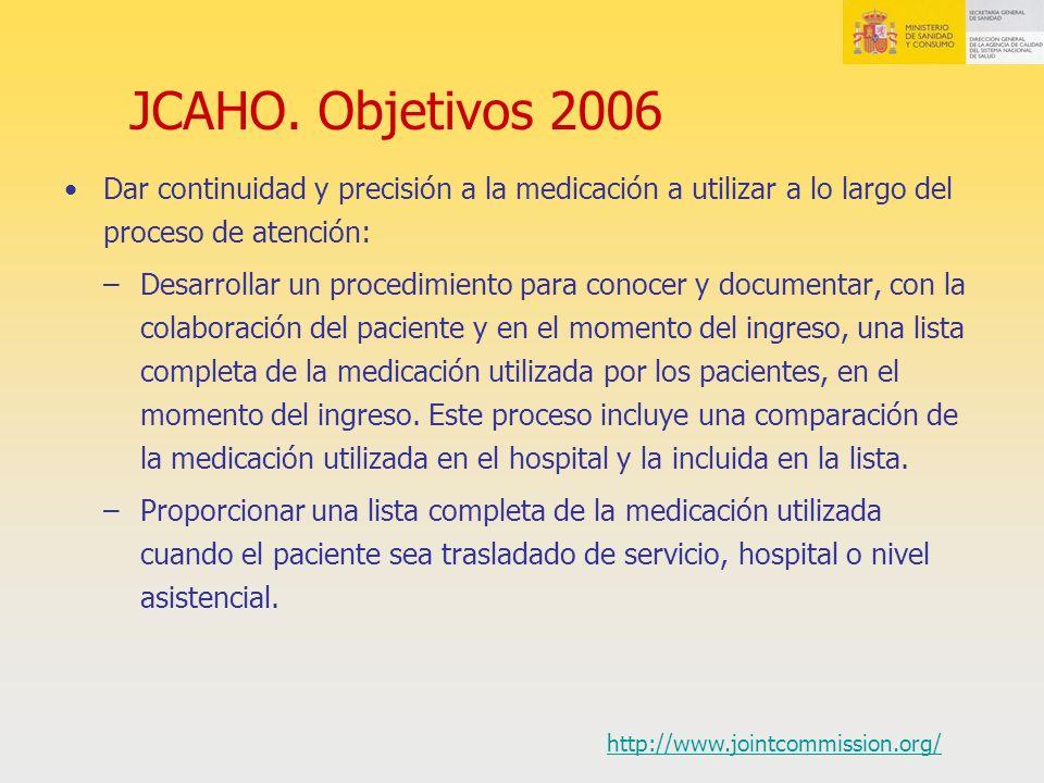 JCAHO. Objetivos 2006 Dar continuidad y precisión a la medicación a utilizar a lo largo del proceso de atención: