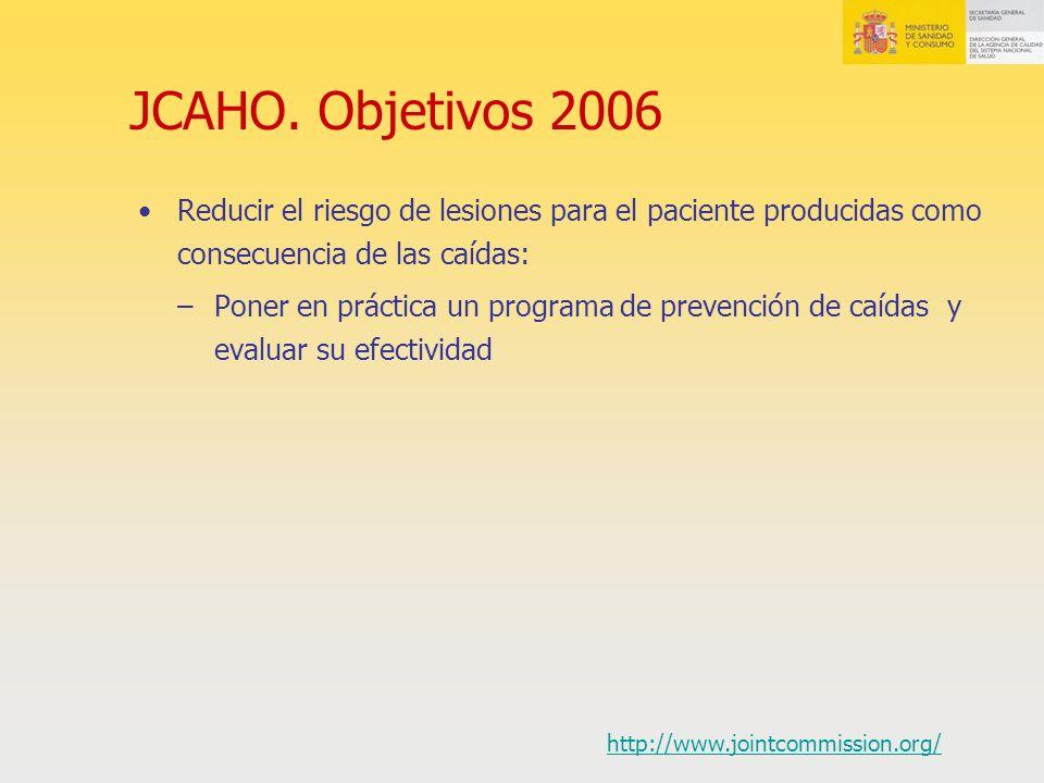 JCAHO. Objetivos 2006 Reducir el riesgo de lesiones para el paciente producidas como consecuencia de las caídas: