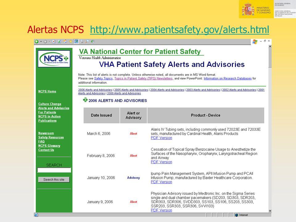 Alertas NCPS http://www.patientsafety.gov/alerts.html