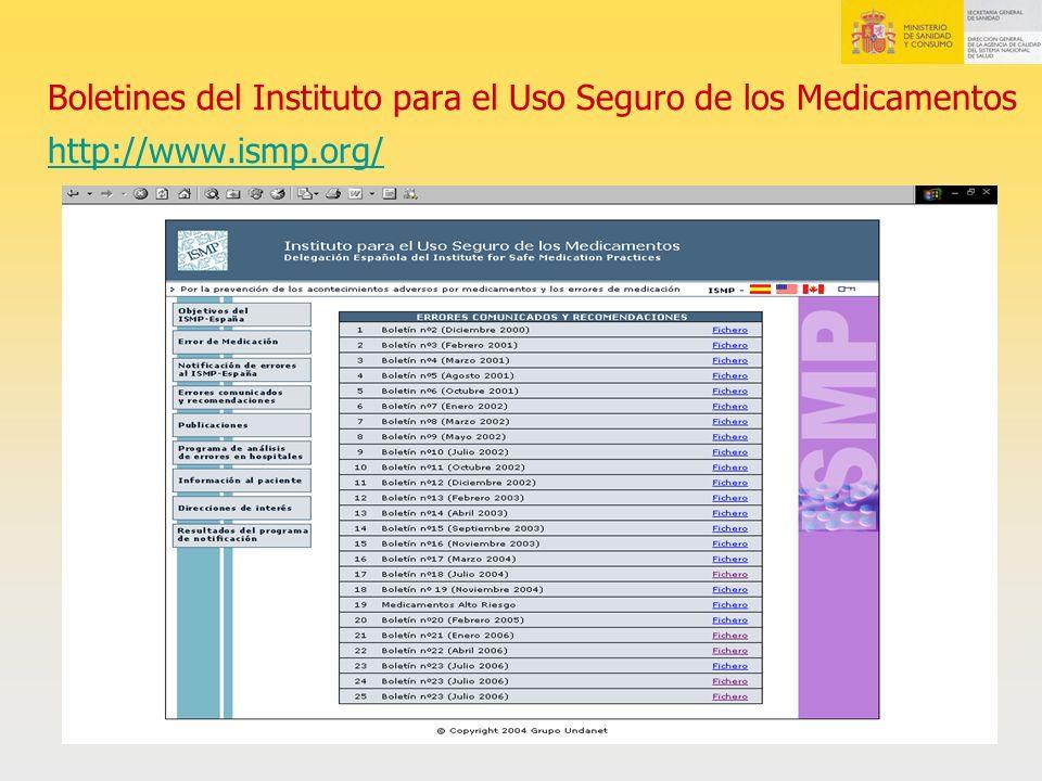 Boletines del Instituto para el Uso Seguro de los Medicamentos http://www.ismp.org/