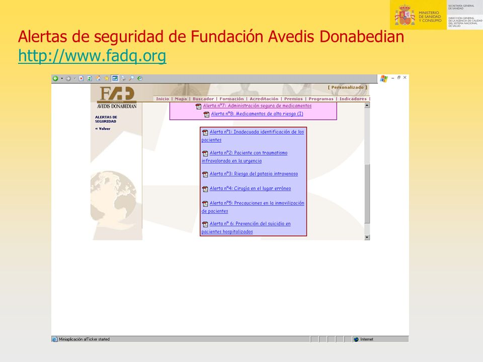 Alertas de seguridad de Fundación Avedis Donabedian http://www. fadq