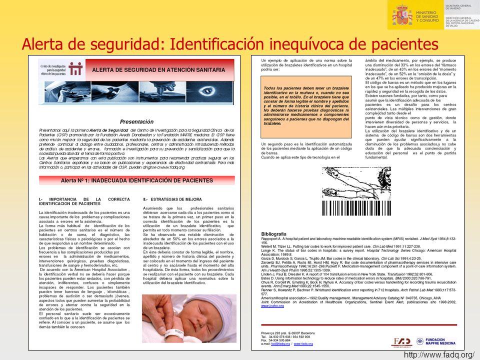 Alerta de seguridad: Identificación inequívoca de pacientes