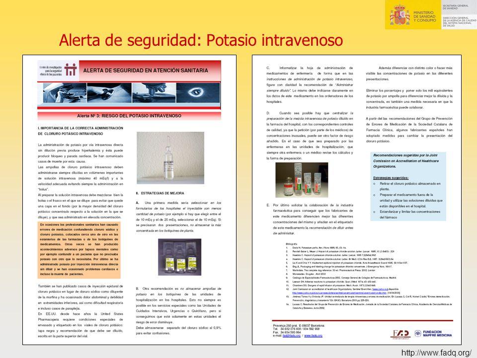 Alerta de seguridad: Potasio intravenoso