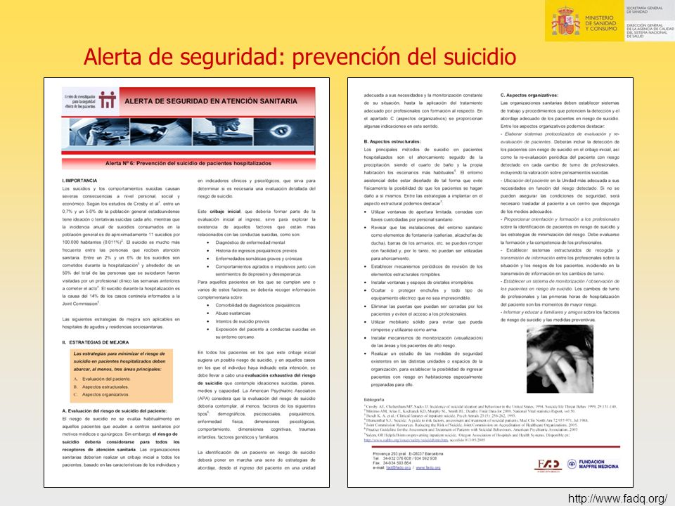 Alerta de seguridad: prevención del suicidio