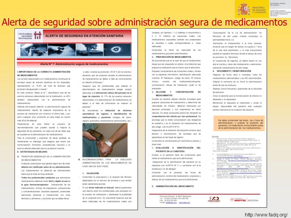 Alerta de seguridad sobre administración segura de medicamentos