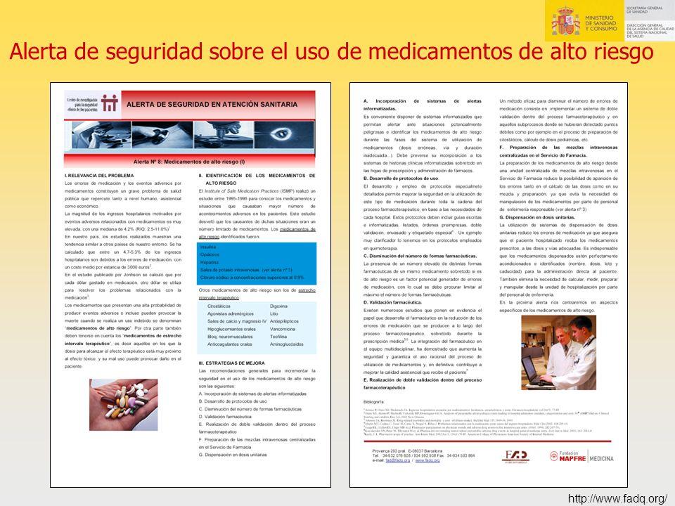 Alerta de seguridad sobre el uso de medicamentos de alto riesgo