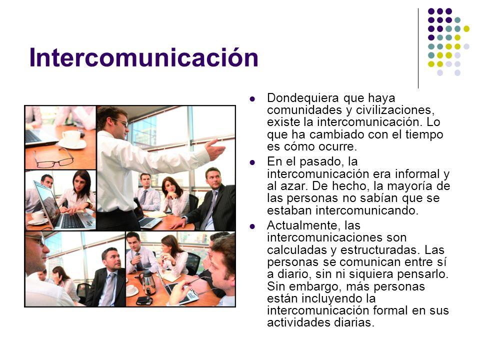 Intercomunicación Dondequiera que haya comunidades y civilizaciones, existe la intercomunicación. Lo que ha cambiado con el tiempo es cómo ocurre.