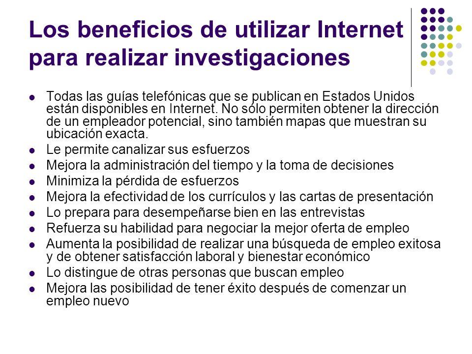 Los beneficios de utilizar Internet para realizar investigaciones