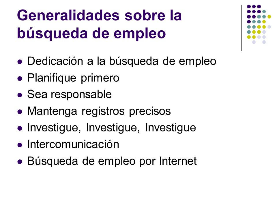 Generalidades sobre la búsqueda de empleo