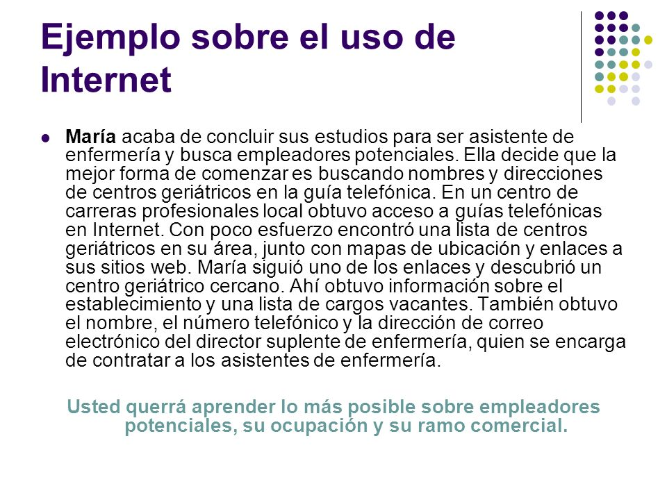 Ejemplo sobre el uso de Internet