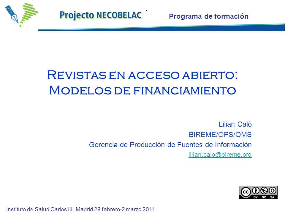 Revistas en acceso abierto: Modelos de financiamiento