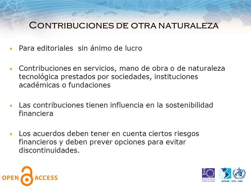 Contribuciones de otra naturaleza