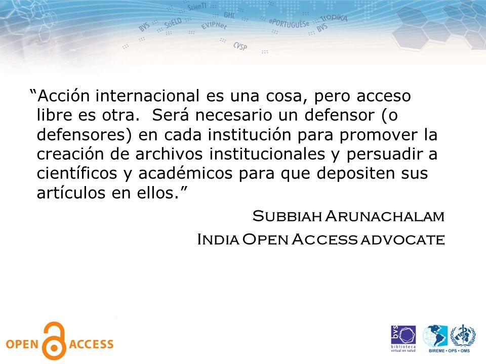 Acción internacional es una cosa, pero acceso libre es otra