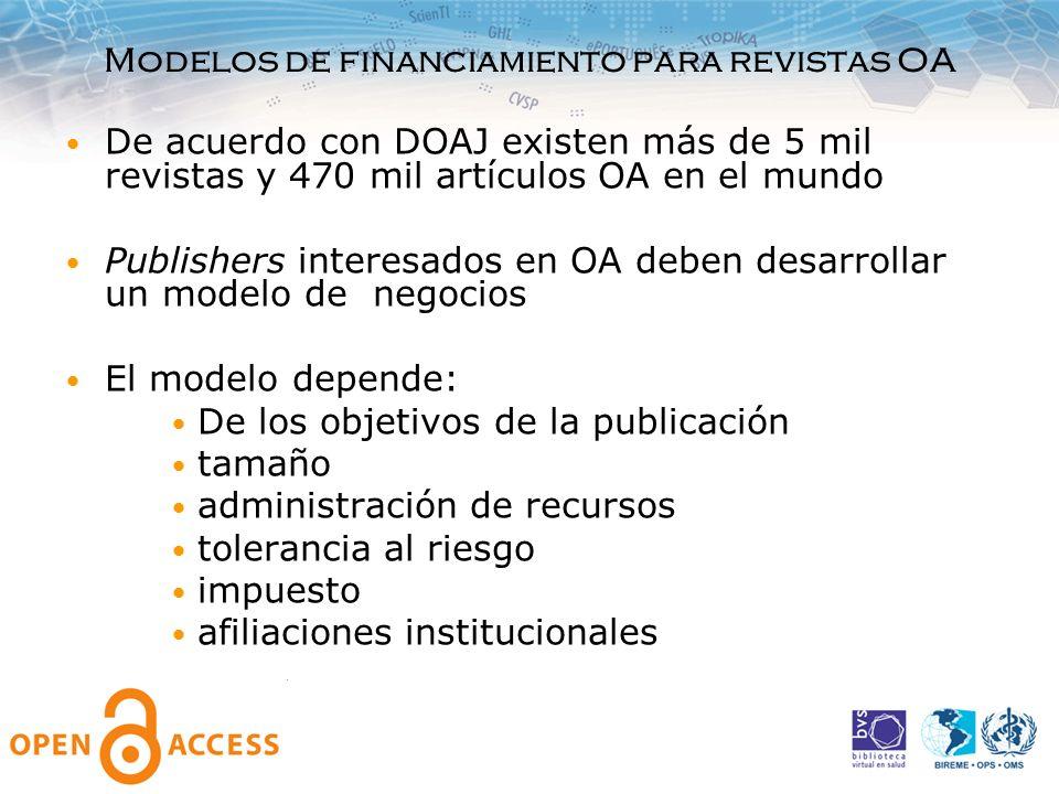 Modelos de financiamiento para revistas OA