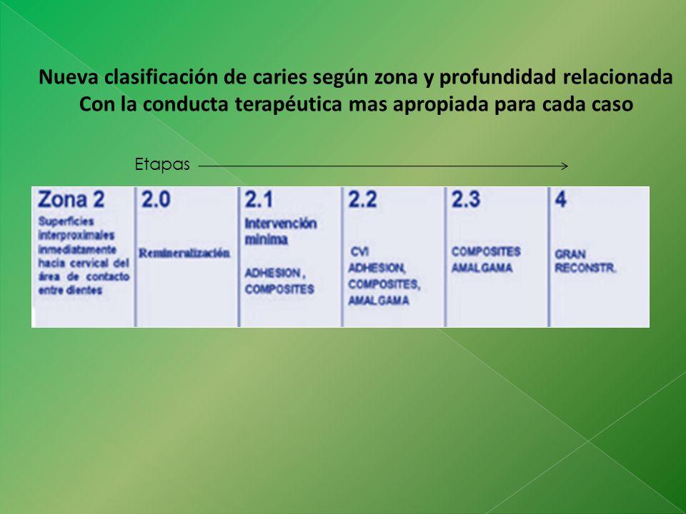 Nueva clasificación de caries según zona y profundidad relacionada