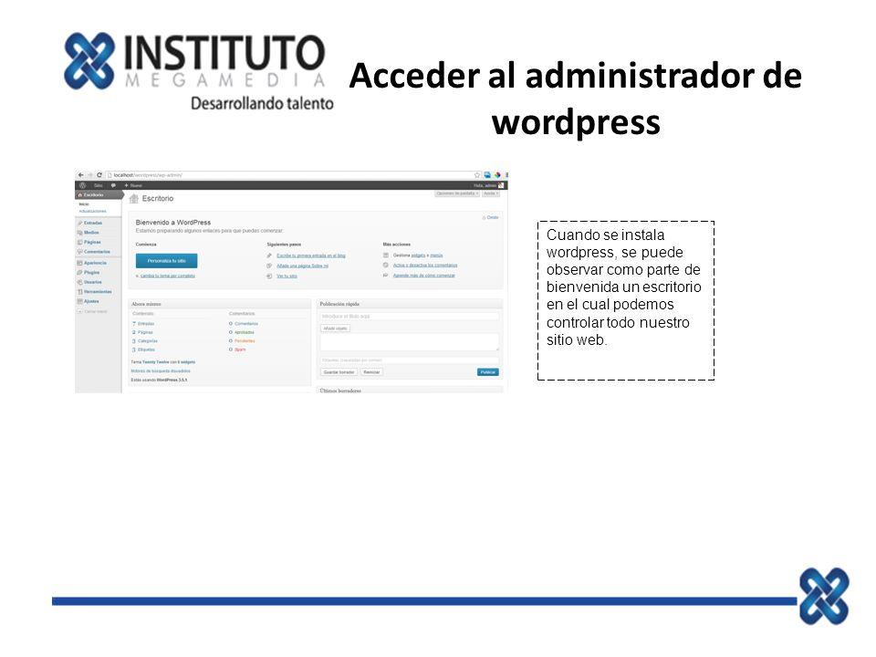 Acceder al administrador de wordpress
