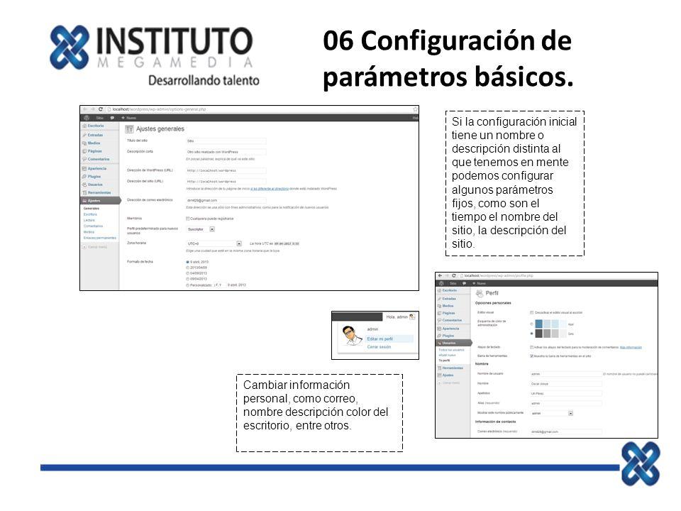 06 Configuración de parámetros básicos.